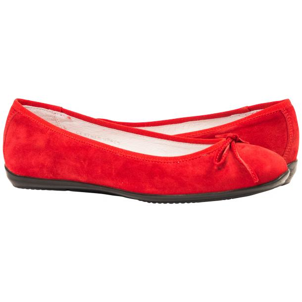 Irene Fire Red Suede Rubber Sole Ballerina Flats full-size #1