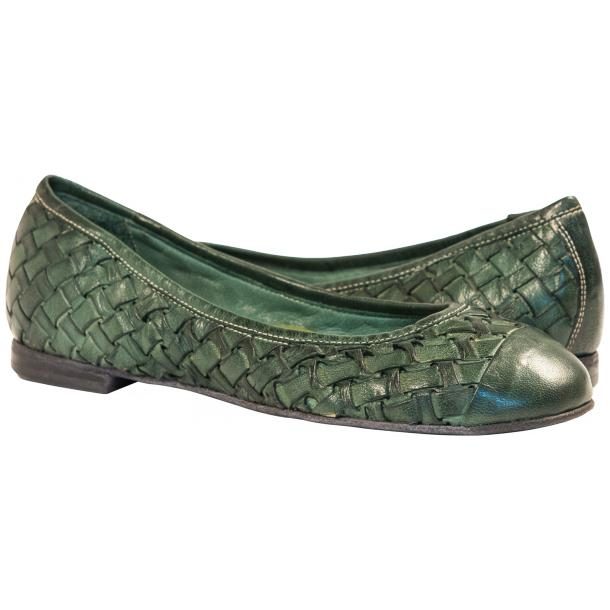 Kate Dip Dyed Green Hand Woven Leather Ballerina Flats full-size #1