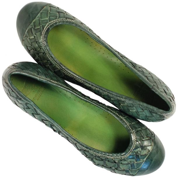 Kate Dip Dyed Green Hand Woven Leather Ballerina Flats full-size #2