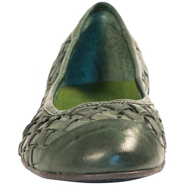 Kate Dip Dyed Green Hand Woven Leather Ballerina Flats full-size #3
