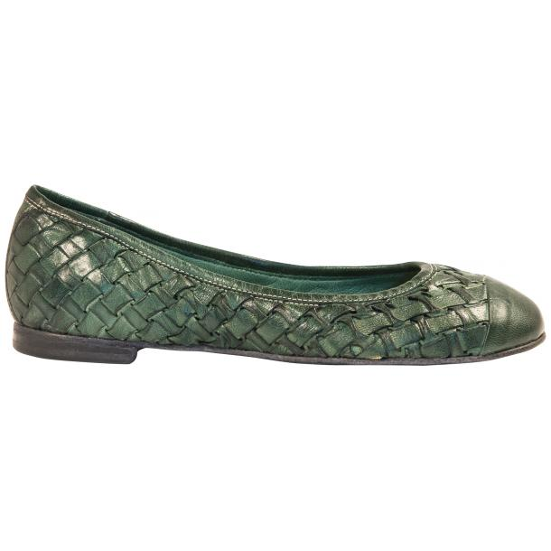 Kate Dip Dyed Green Hand Woven Leather Ballerina Flats full-size #4