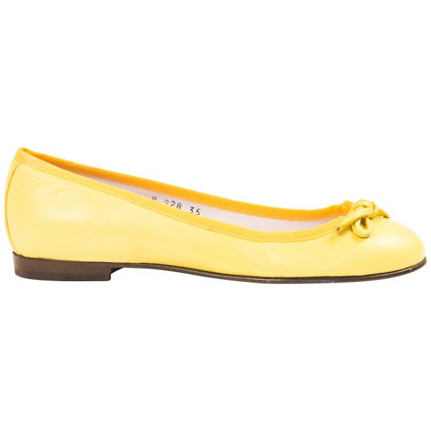 Elena Lemon Yellow Leather Ballerina Flats full-size #4
