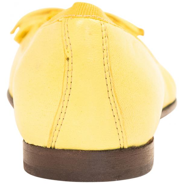 Elena Lemon Yellow Leather Ballerina Flats full-size #5