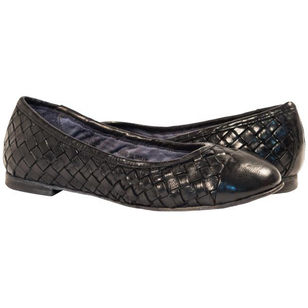 Maya Dip Dyed Navy Blue Woven Leather Ballerina Flats full-size #1