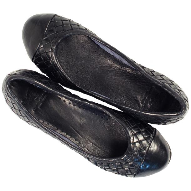 Maya Dip Dyed Navy Blue Woven Leather Ballerina Flats full-size #2