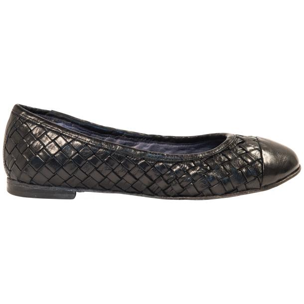 Maya Dip Dyed Navy Blue Woven Leather Ballerina Flats full-size #4