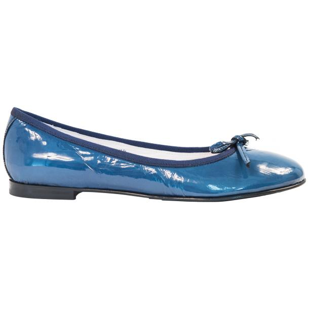 Lisa Jeans Blue Patent Leather Ballerina Flats full-size #4