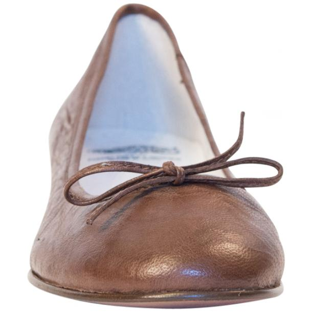 Nadia Brown Wrinkled Nappa Leather Bow Ballerina Flat full-size #3