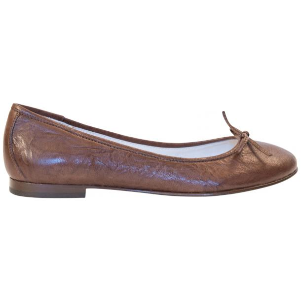 Nadia Brown Wrinkled Nappa Leather Bow Ballerina Flat full-size #4
