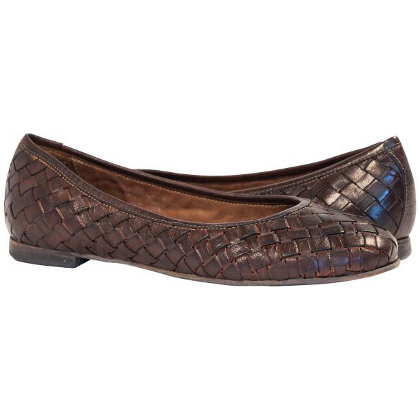 Marianna Dip Dyed Dark Brown Leather Woven Ballerina Flats full-size #1