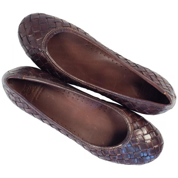 Marianna Dip Dyed Dark Brown Leather Woven Ballerina Flats full-size #2