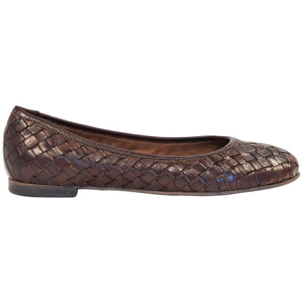 Marianna Dip Dyed Dark Brown Leather Woven Ballerina Flats full-size #4
