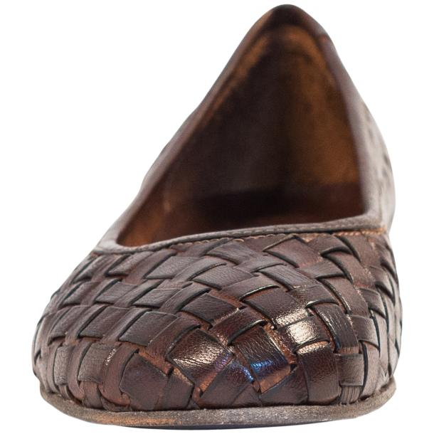 Marianna Dip Dyed Dark Brown Leather Woven Ballerina Flats full-size #3