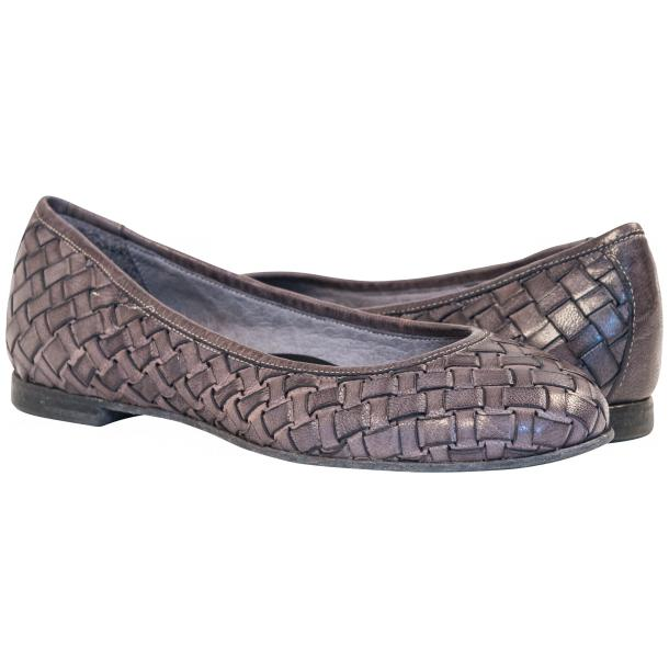 Eliza Dip Dyed Stone Grey Leather Woven Ballerina Flats full-size #1