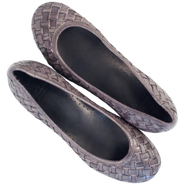 Eliza Dip Dyed Stone Grey Leather Woven Ballerina Flats full-size #2