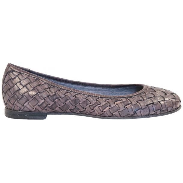 Eliza Dip Dyed Stone Grey Leather Woven Ballerina Flats full-size #4