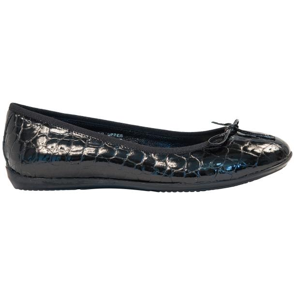 Julia Black Croco Print Dip Dyed Rubber Sole Ballerina Flats full-size #4