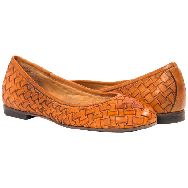 Adele Dip Dyed Brick Brown Leather Woven Ballerina Flats full-size #1