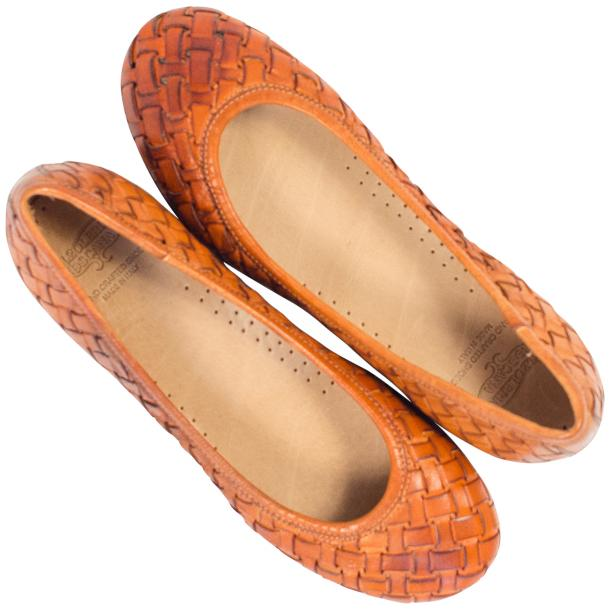 Adele Dip Dyed Brick Brown Leather Woven Ballerina Flats full-size #2