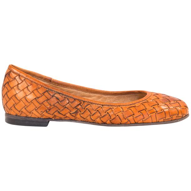 Adele Dip Dyed Brick Brown Leather Woven Ballerina Flats full-size #4