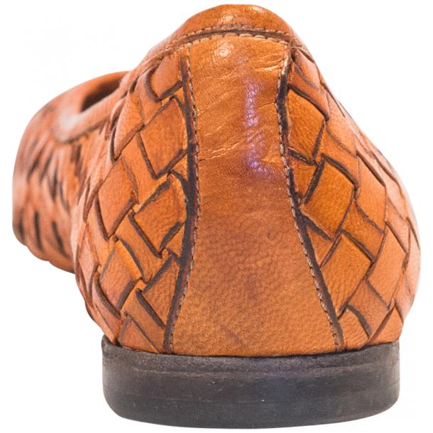 Adele Dip Dyed Brick Brown Leather Woven Ballerina Flats full-size #5