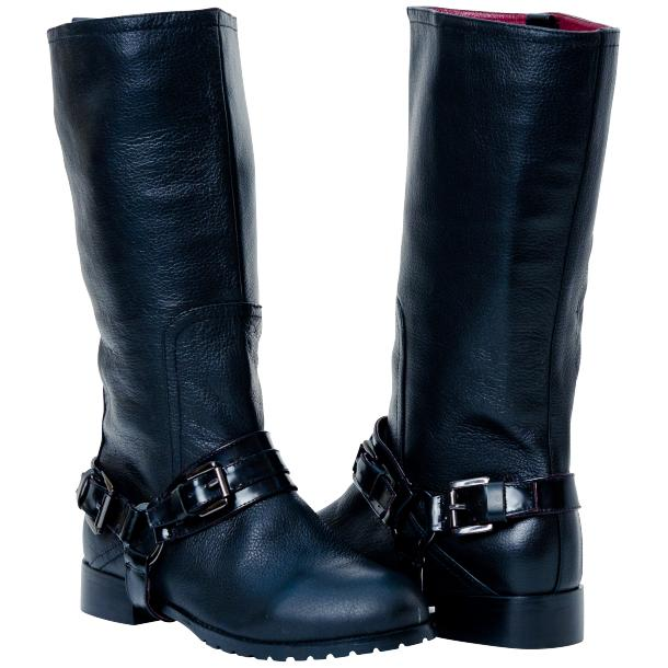 Kally Black Buffalo Leather Mid-Calf Boots with Detachable Buckles full-size #1