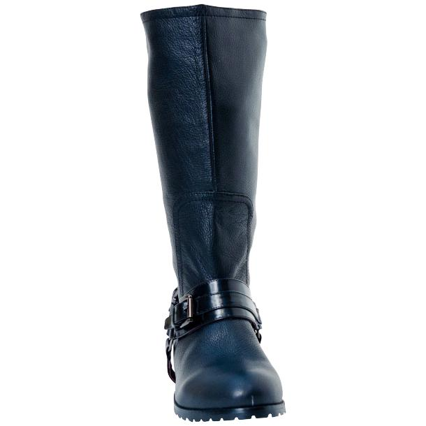 Kally Black Buffalo Leather Mid-Calf Boots with Detachable Buckles full-size #2