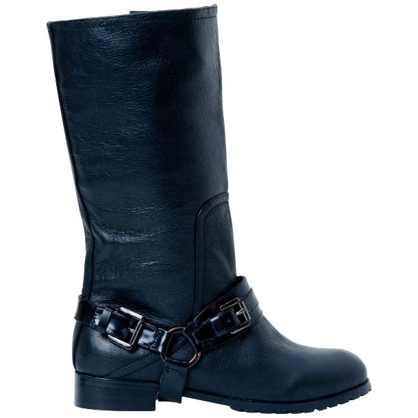 Kally Black Buffalo Leather Mid-Calf Boots with Detachable Buckles full-size #4
