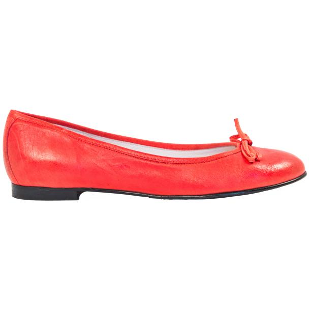 Helena Red Nappa Leather Dip Dyed Bow Ballerina Flats full-size #4