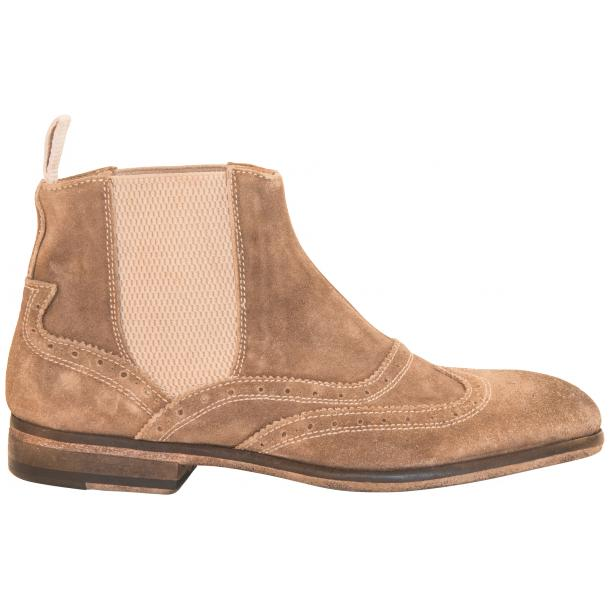 Leila Beige Suede Wing Tip Dip Dyed Chelsea Boot full-size #4