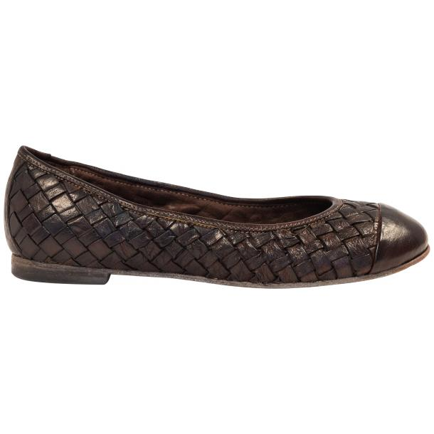 Maya Dip Dyed Espresso Brown Woven Leather Ballerina Flats full-size #4