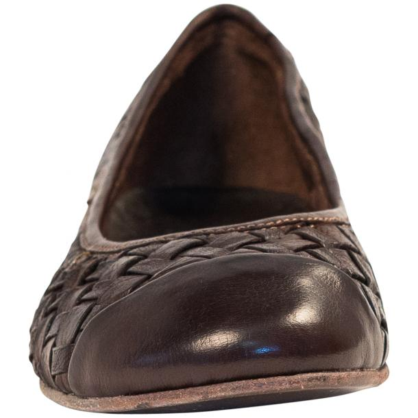 Maya Dip Dyed Espresso Brown Woven Leather Ballerina Flats full-size #3