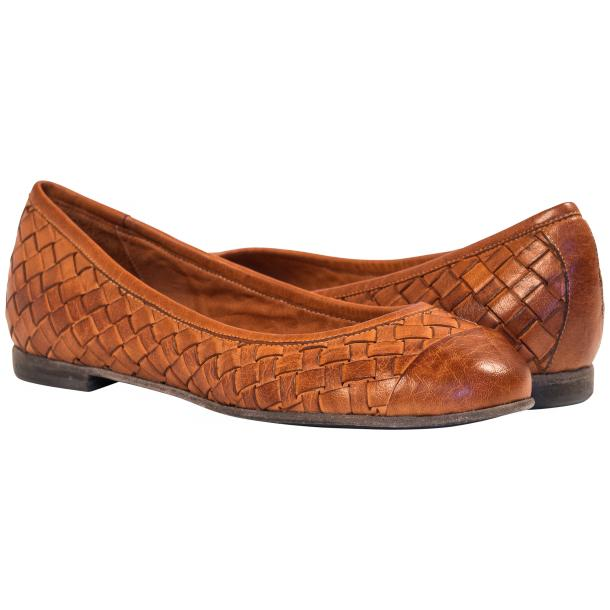 Kate Dip Dyed Coker Brown Woven Leather Ballerina Flats full-size #1