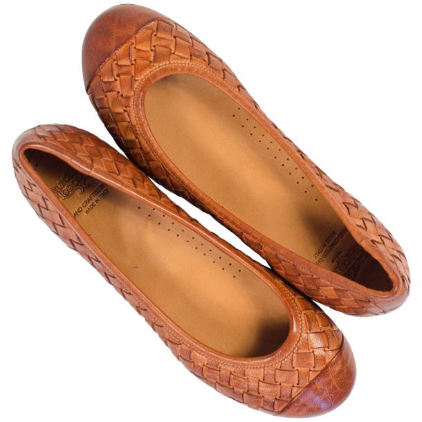 Kate Dip Dyed Coker Brown Woven Leather Ballerina Flats full-size #2