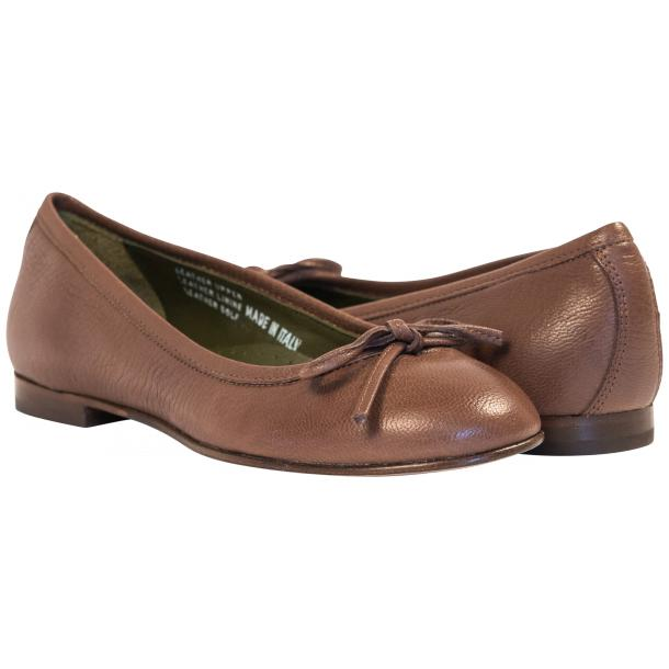 Diamond Brown Dip Dyed Nappa Leather Bow Ballerina Flat full-size #1