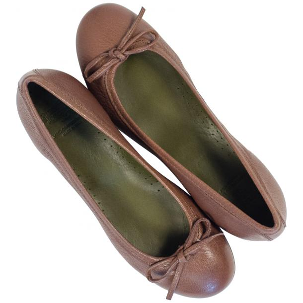 Diamond Brown Dip Dyed Nappa Leather Bow Ballerina Flat full-size #2