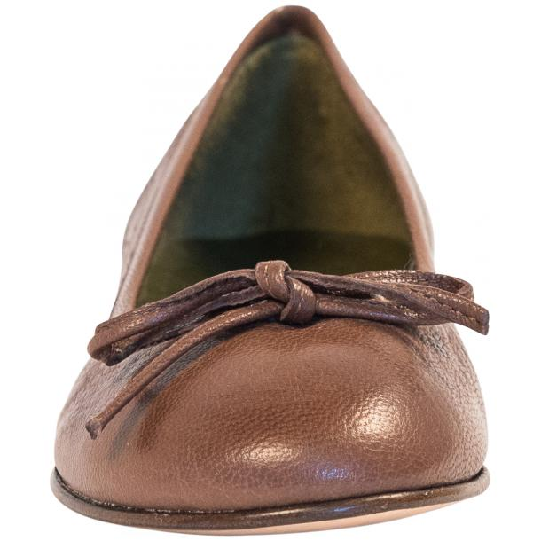 Diamond Brown Dip Dyed Nappa Leather Bow Ballerina Flat full-size #3