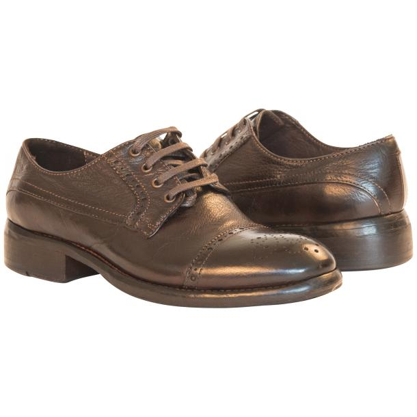Diana Dip Dyed Brown Leather Cap toe Lace Up Shoes full-size #1