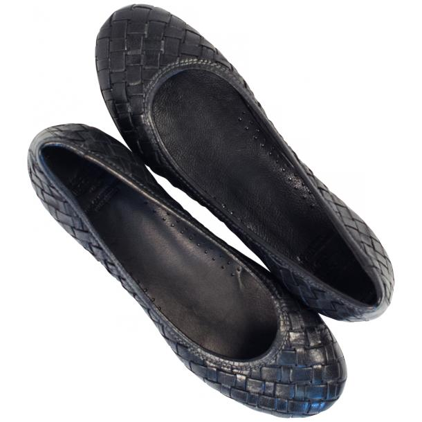 Adele Dip Dyed Black Smoke Leather Woven Ballerina Flats full-size #2