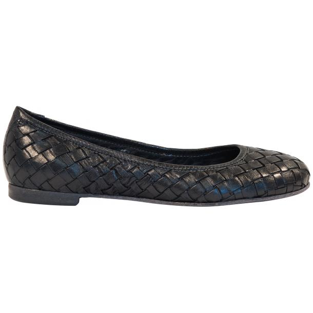 Adele Dip Dyed Black Smoke Leather Woven Ballerina Flats full-size #4