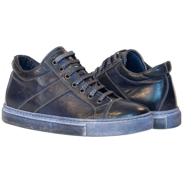 Amelie Dip Dyed Denim Blue Low Top Sneakers  full-size #1