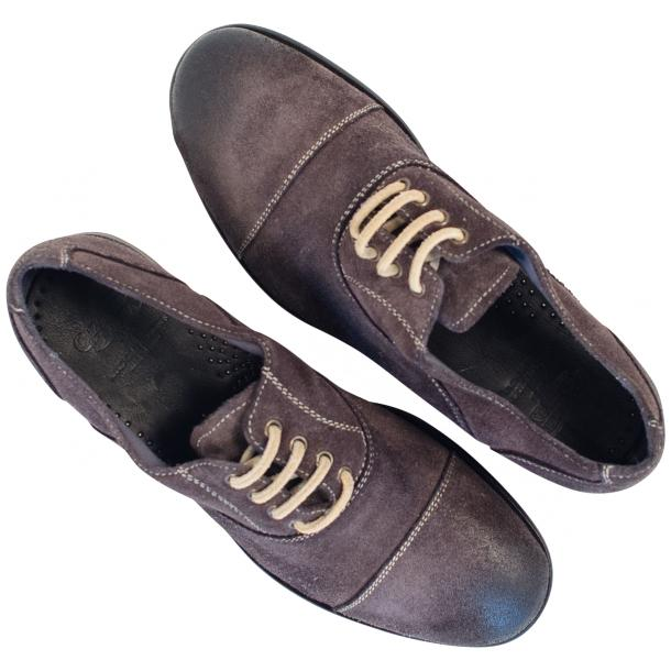 Natalie Dip Dyed Graphite Dark Grey Suede Oxford Shoes full-size #2