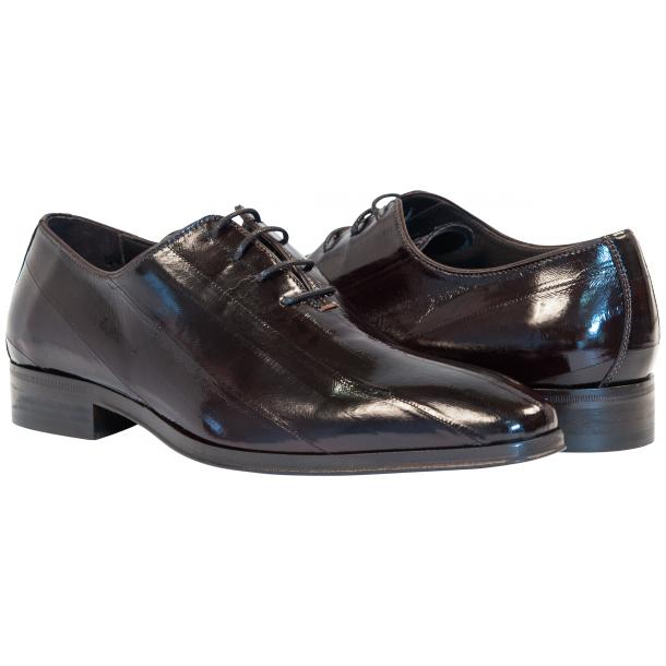 Bernard Dark Brown Eel Skin  Laced up Dress Shoes full-size #1