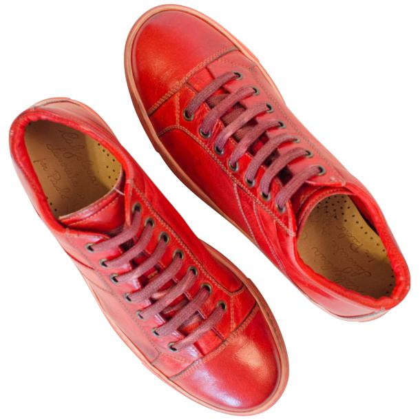 Amelie Dip Dyed Flame Red Low Top Sneakers  full-size #2