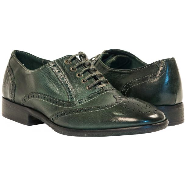 Ashley Dip Dyed Green Leather Oxford Lace Up Shoes full-size #1