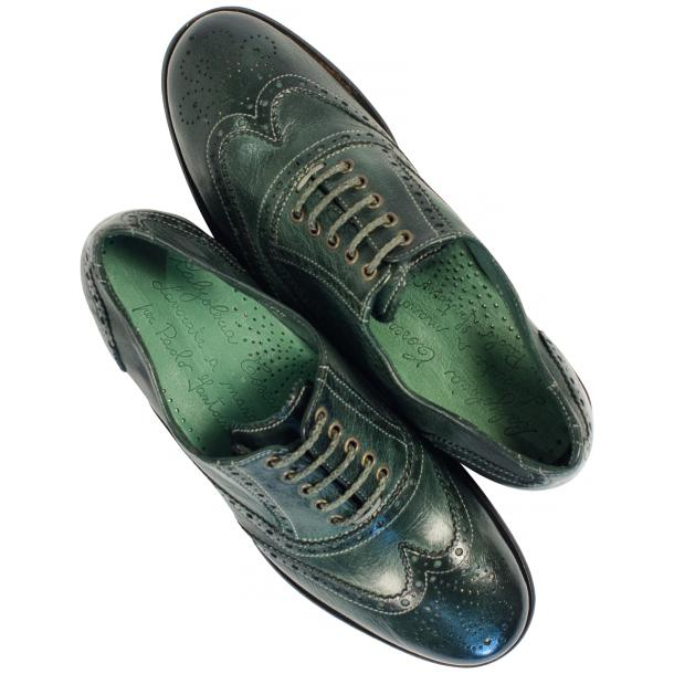 Ashley Dip Dyed Green Leather Oxford Lace Up Shoes full-size #2