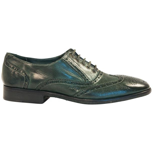 Ashley Dip Dyed Green Leather Oxford Lace Up Shoes full-size #4