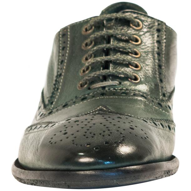 Ashley Dip Dyed Green Leather Oxford Lace Up Shoes full-size #3