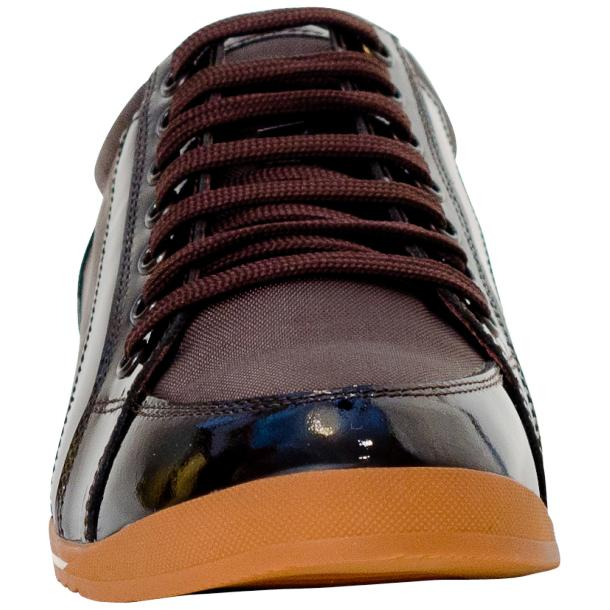 Paola Brown Patent Leather Low Top Sneakers  full-size #3