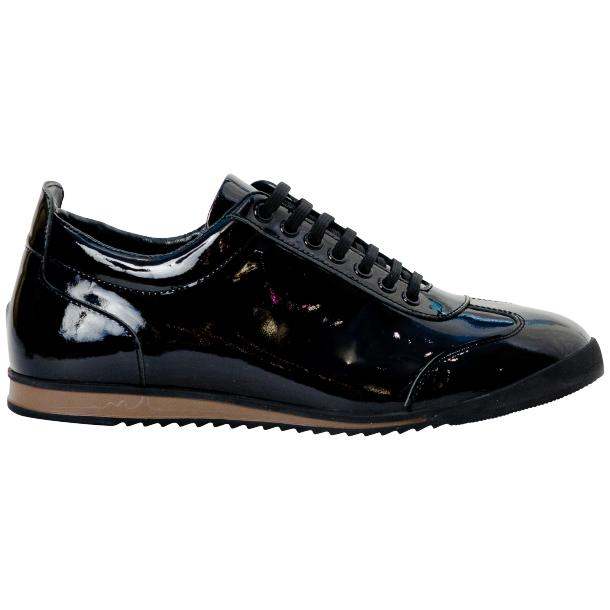 Britney Black Patent Leather Low Top Sneakers full-size #4